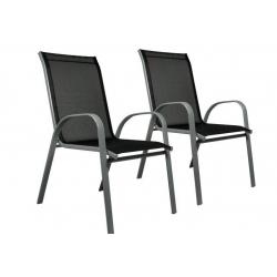 Sada 2 x záhradná stolička stohovateľná s vysokým operadlom
