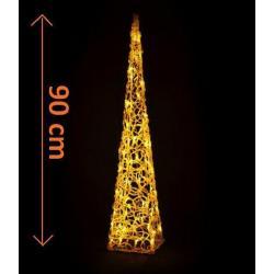 Vianočná dekorácia - Akrylový kužeľ - 90 cm, teplá biela + trafo