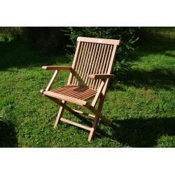 DIVERO skladacia stolička z teakového dreva