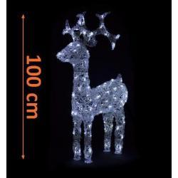 LED dekorácia - vianočný sob - 100 cm biele svetlo