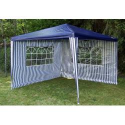 Záhradný párty stan - modrý 3 x 3 m + 2 bočné steny