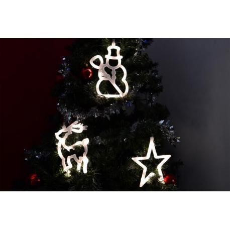 Vianočná dekorácia na okno - hviezda, snehuliak, sob LED
