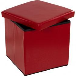Taburet s úložným priestorom, tmavo červený