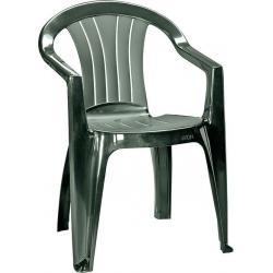 Záhradná plastová stolička SICILIA - tmavozelená