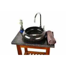 Kamenné umývadlo - čierne leštený mramor divero