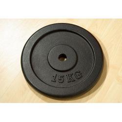 Závažie na činky 15 kg čierna liatina