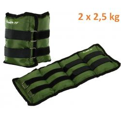 MOVIT záťažové manžety, 2 x 2,5 kg zelená