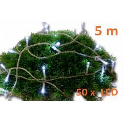 Vianočné LED osvetlenie 5 m - studená biela, 50 diód